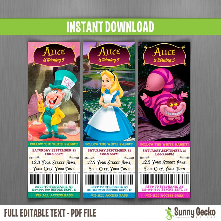 Alice in Wonderland Birthday Ticket Invitations