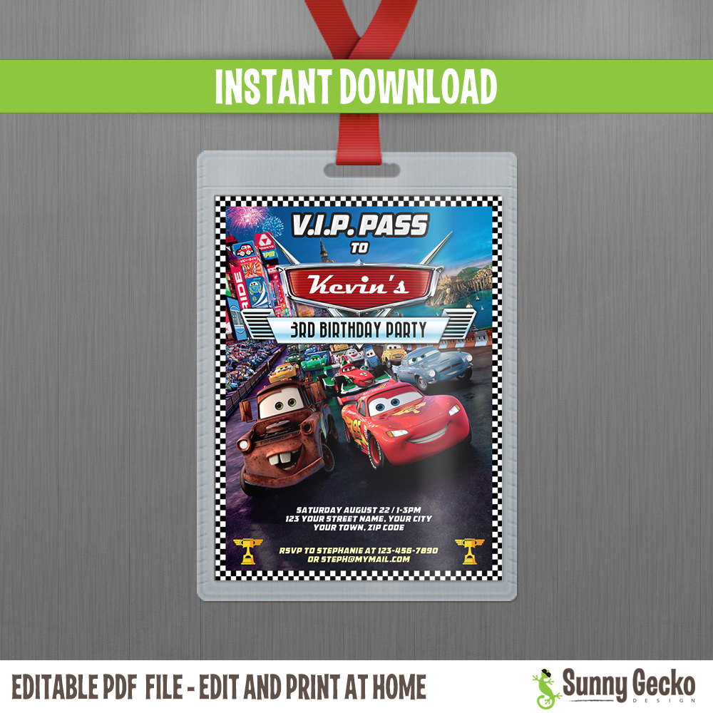 Disney Cars 2 Lightning McQueen And Mater VIP Pass Birthday Invitation