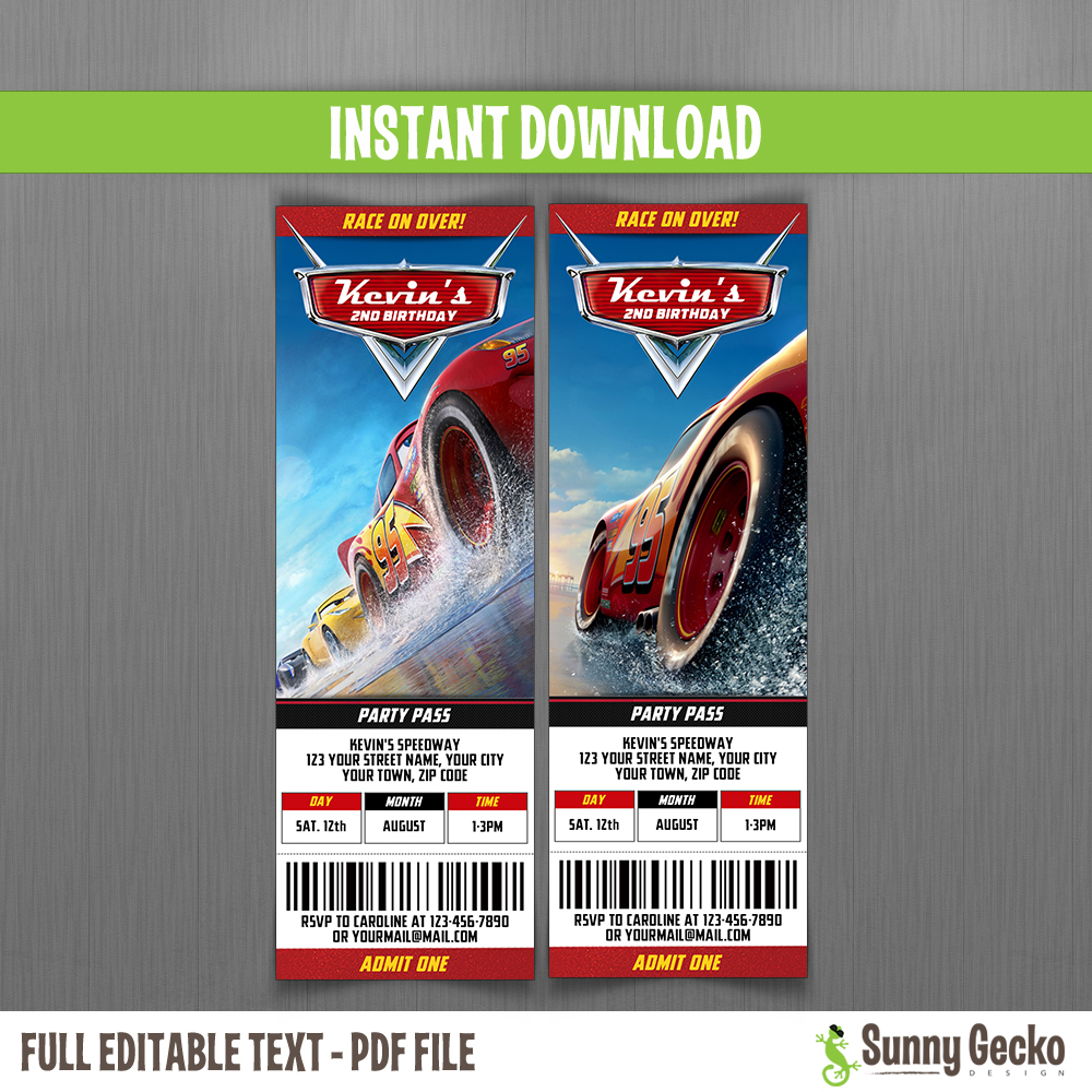 Cars 3 Birthday Ticket Invitations