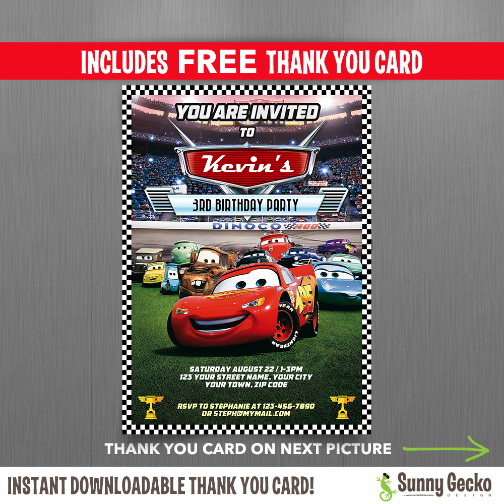 Disney Cars Lightning McQueen Birthday Invitation with FREE editable ...