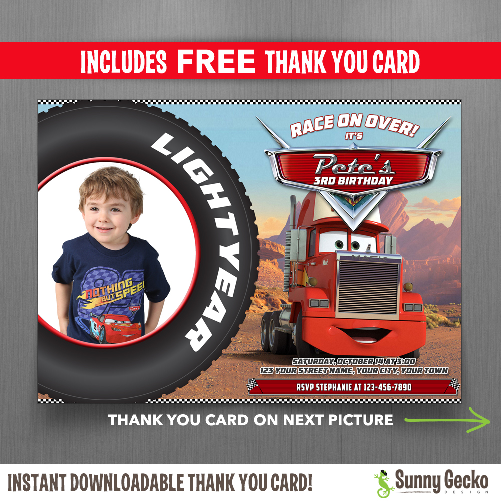 Cars Invitation Card Template Free: Disney Cars Mack 7x5 In. Birthday Party Invitation With