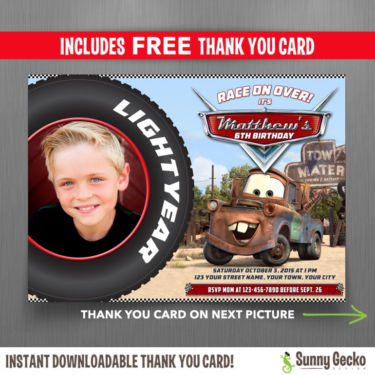 Cars Mater 7x5 in. Birthday Party Invitation with FREE editable Thank you Card
