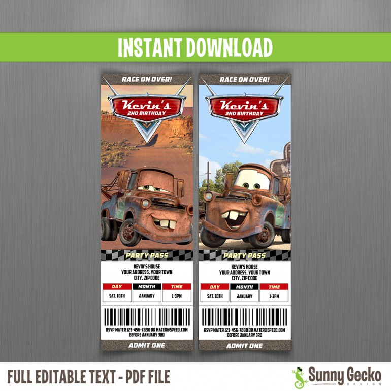 Cars Birthday Ticket Invitations (Mater)