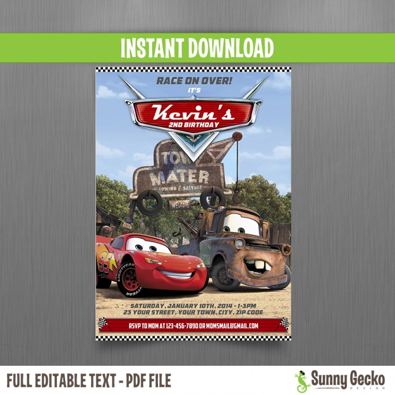 Cars Lightning McQueen and Mater Birthday Invitation