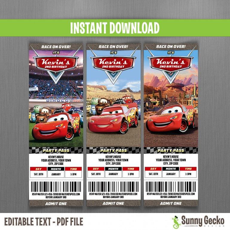 Cars Birthday Ticket Invitations - Lightning McQueen