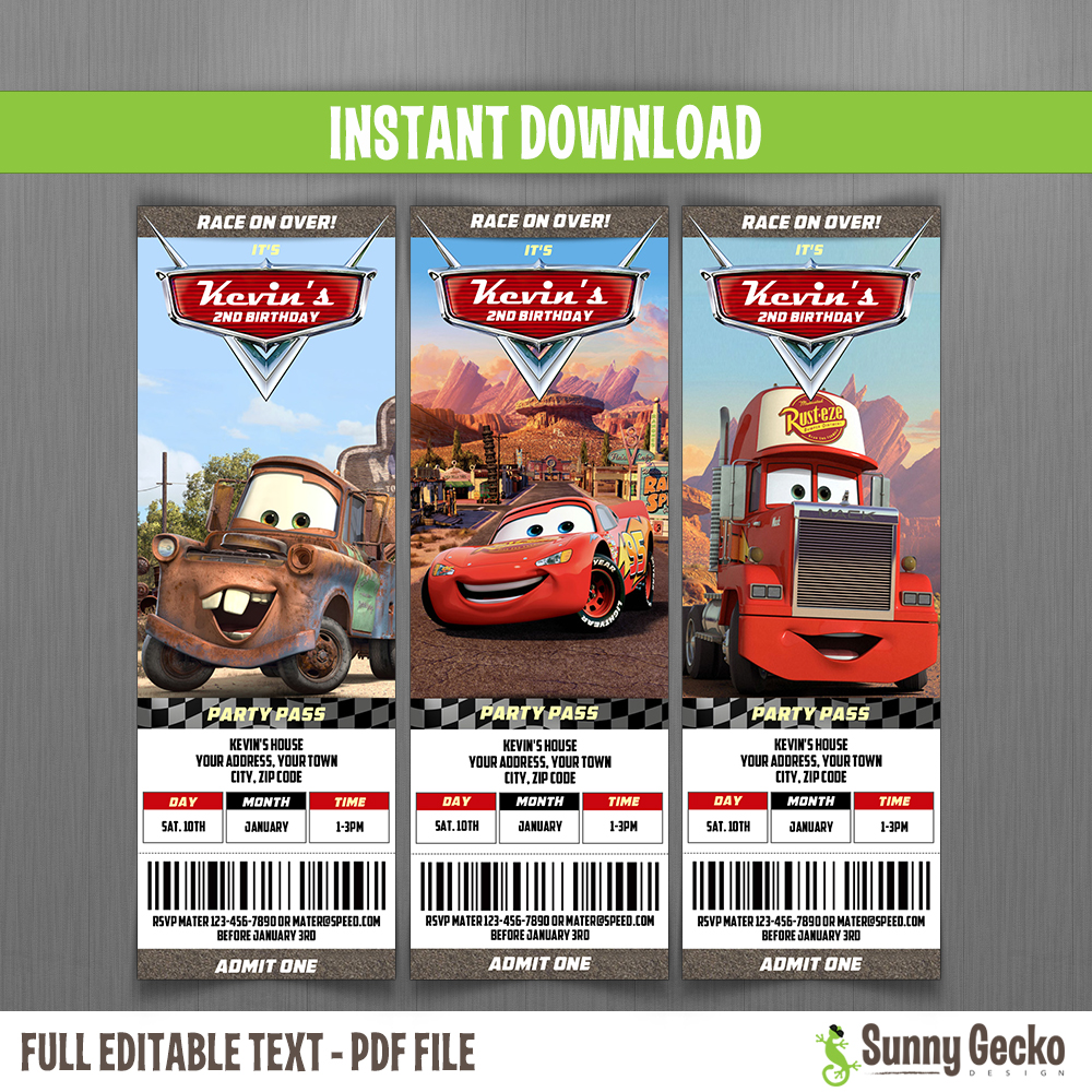 Cars Birthday Ticket Invitations McQueen Mater And Mack