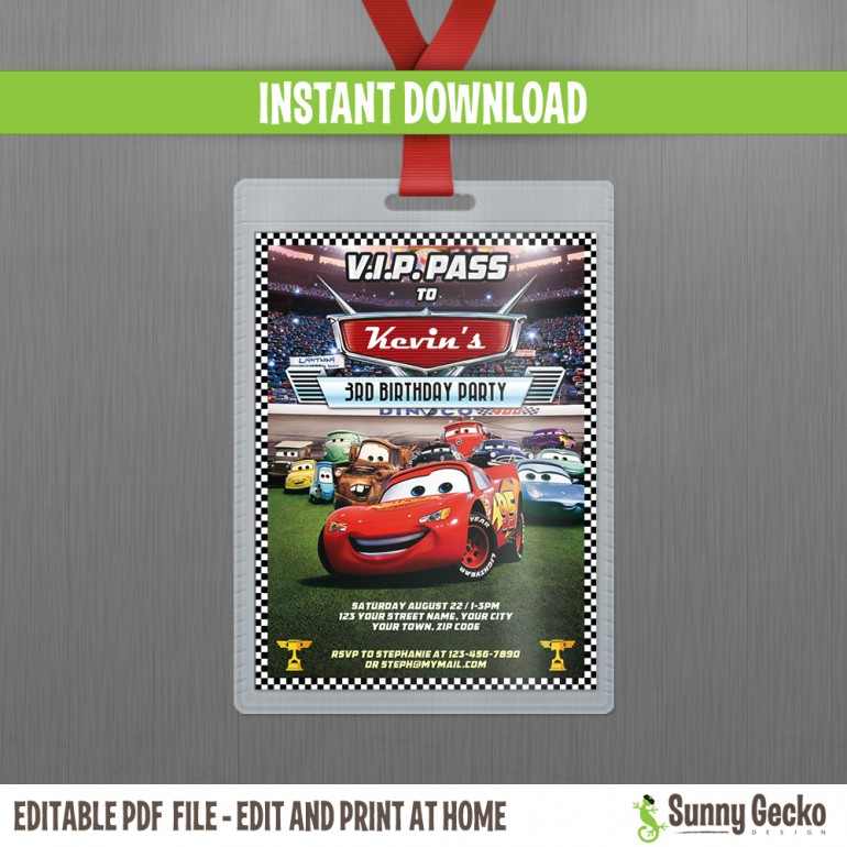 Cars Lightning McQueen and Mater VIP Pass Birthday Invitation