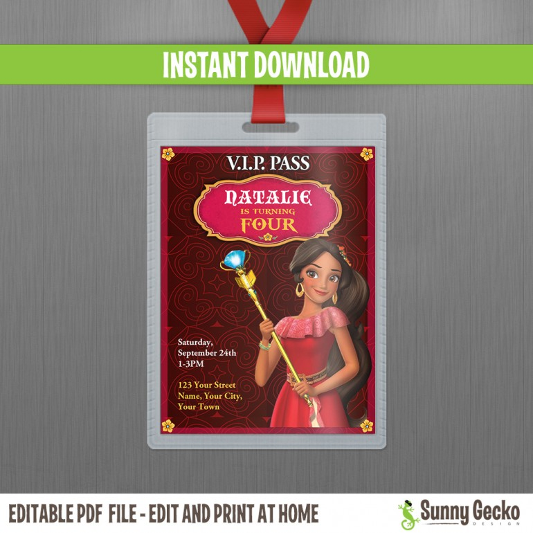 Elena of Avalor VIP Pass Birthday Invitation