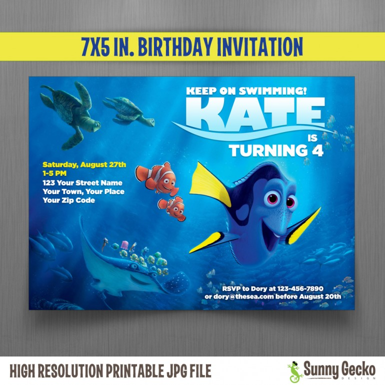 Finding Dory 7x5 in. Birthday Party Invitation