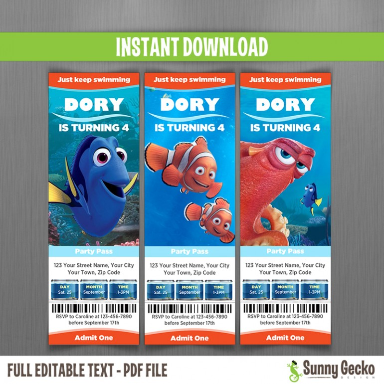 Finding Dory Birthday Ticket Invitations