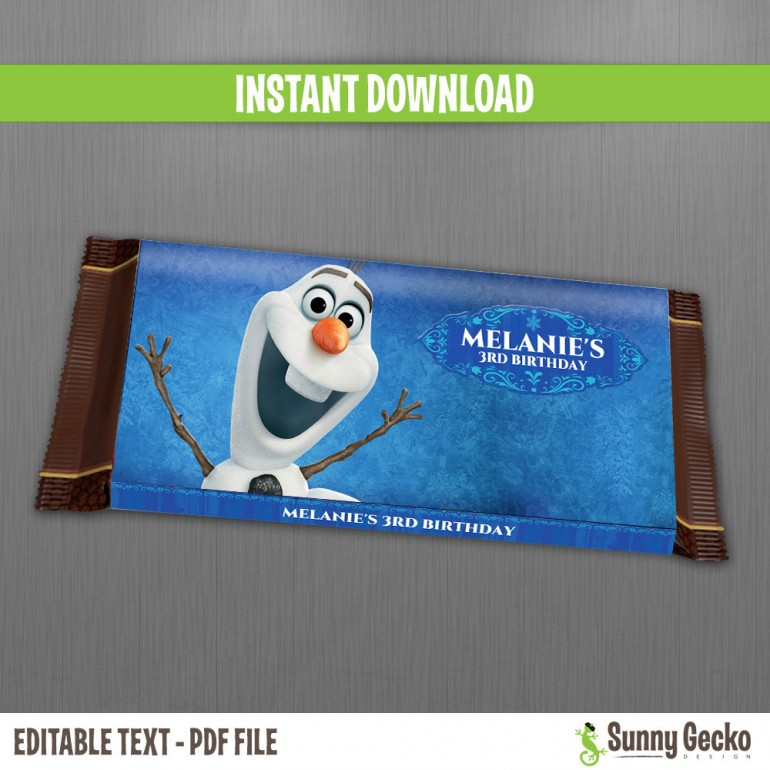 Frozen Birthday Chocolate Wrappers