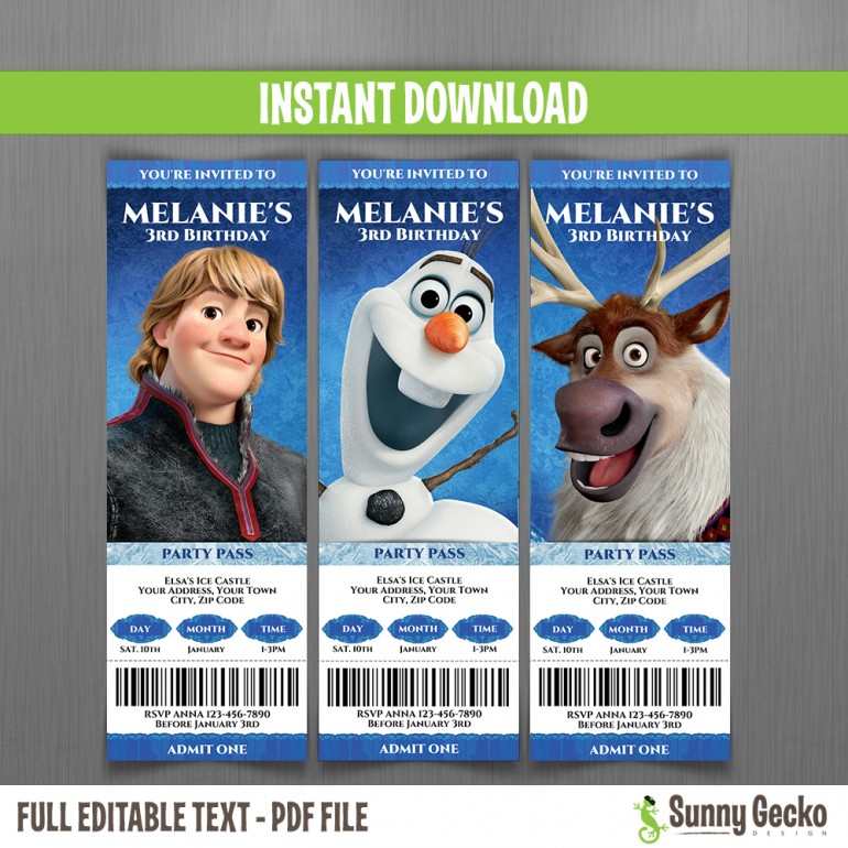 Frozen Birthday Ticket Invitations (Set 2)