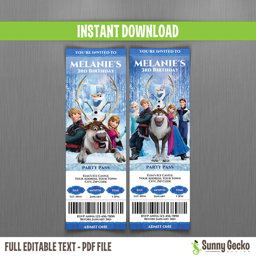 frozen birthday ticket invitations set 3 instant download and