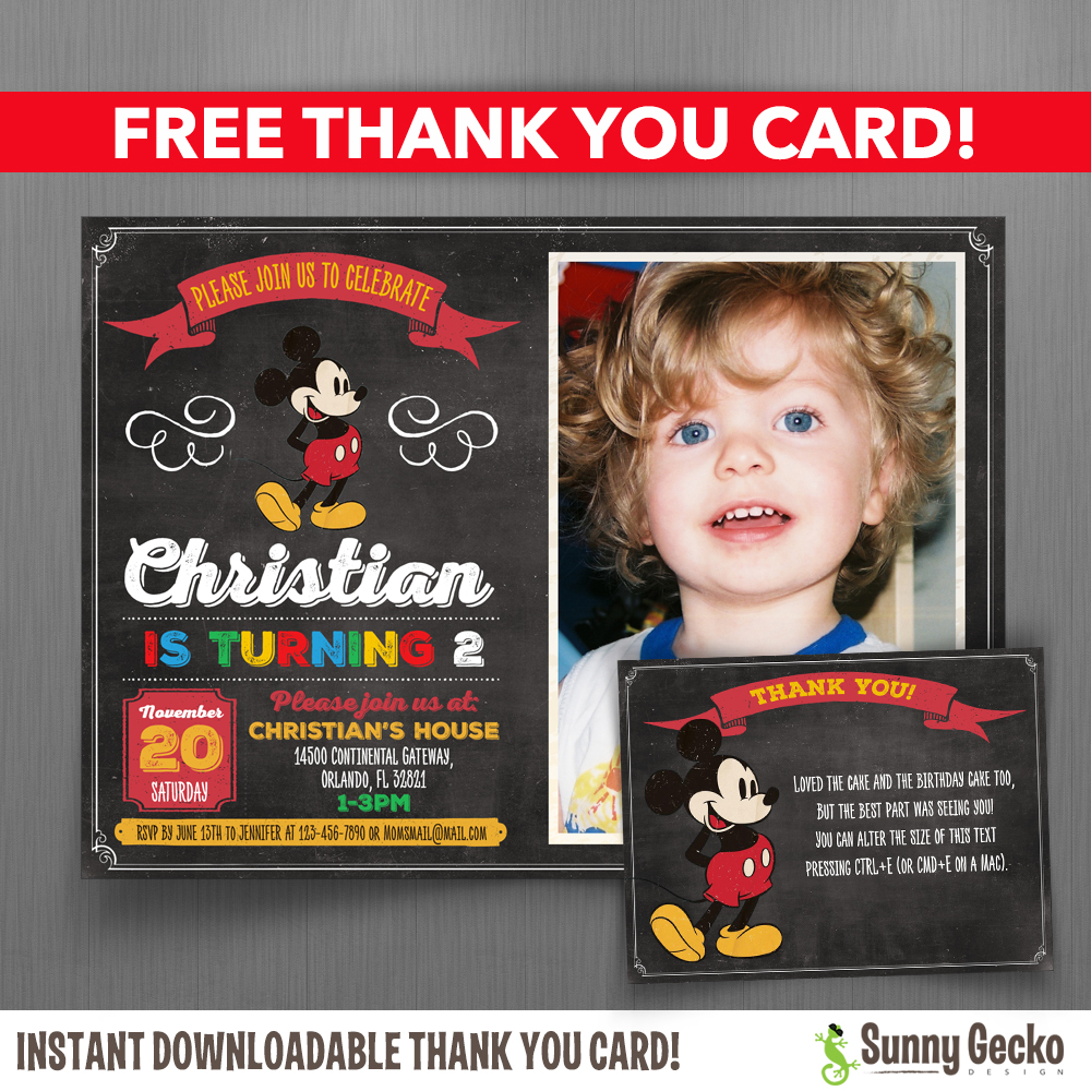 Vintage Chalkboard Style Mickey Mouse 7x5 Or 6x4 In Birthday Party Invitation With Free Editable Thank You Card