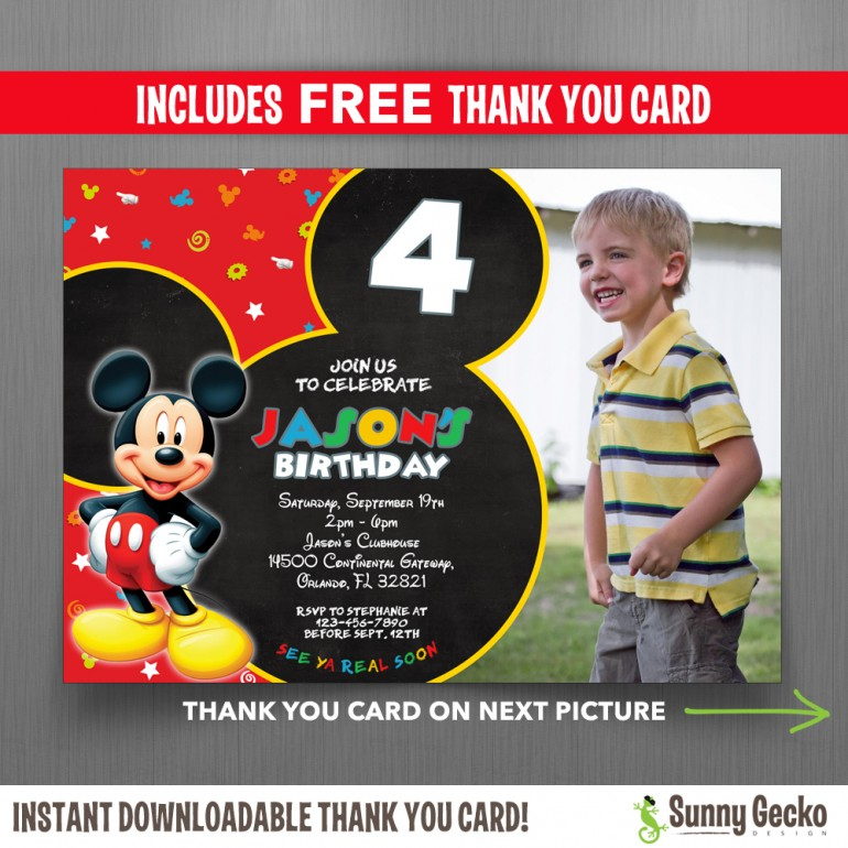 Mickey Mouse Clubhouse 7x5 in. Birthday Party Invitation with Photo - Includes FREE editable Thank you Card