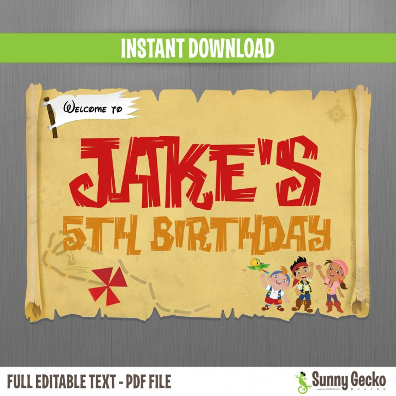 Jake and The Neverland Pirates Birthday Welcome Sign