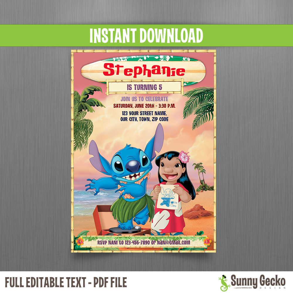 Lilo And Stitch 5x7 In Birthday Invitation Instant Download And