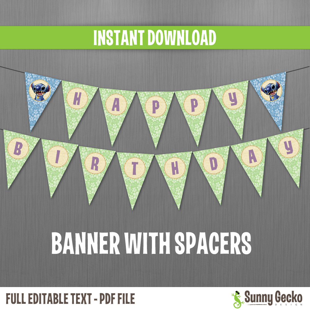 Unique Disney Lilo and Stitch Happy Birthday Banner with Spacers- Instant  FZ43