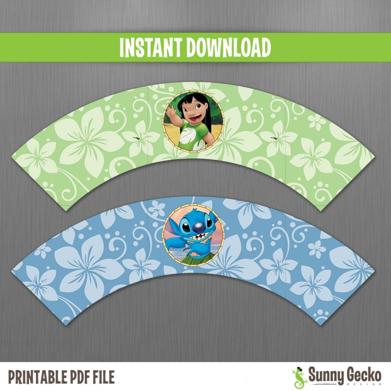 Lilo and Stitch Birthday Cupcake Wrappers
