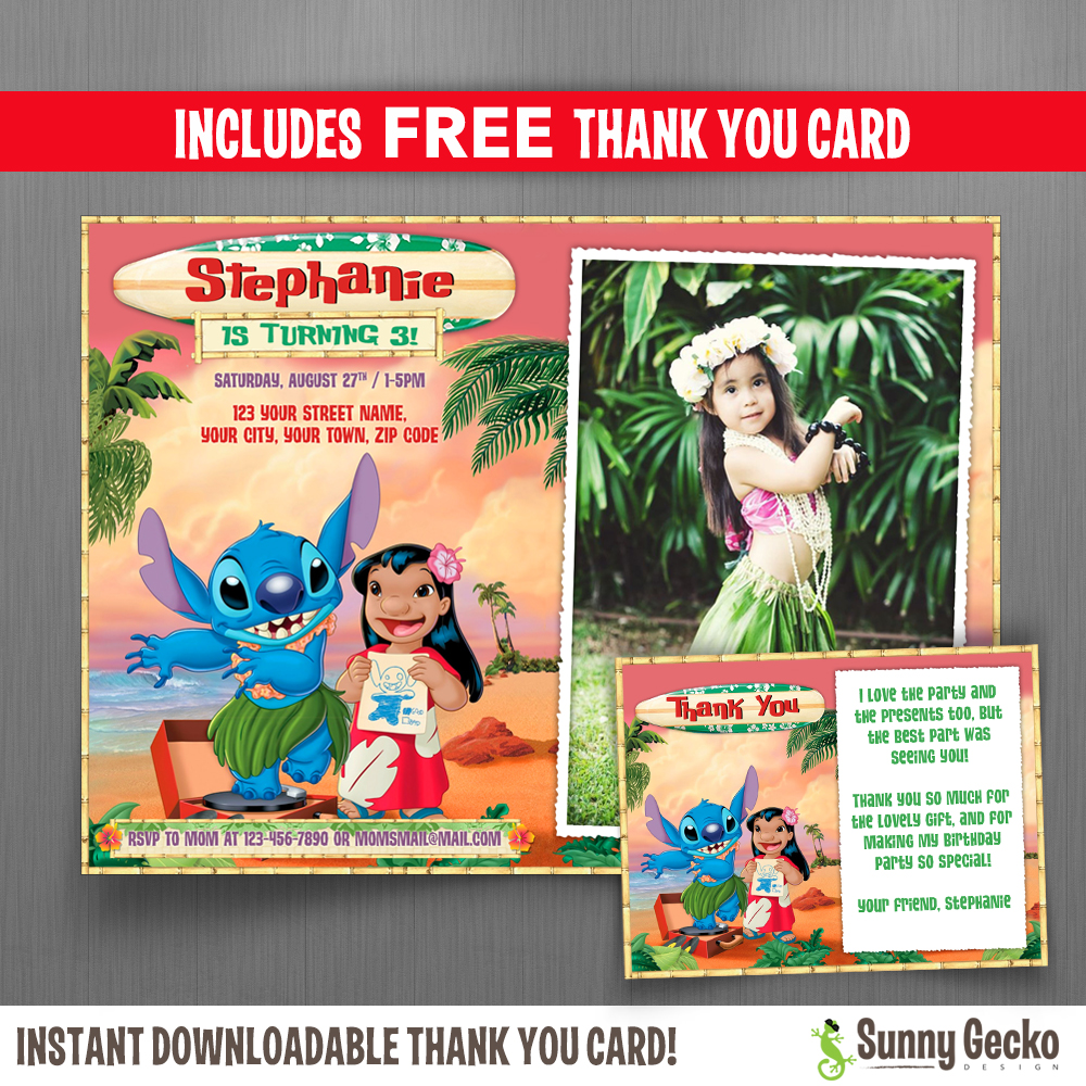 Lilo And Stitch 7x5 In Birthday Party Invitation With Free