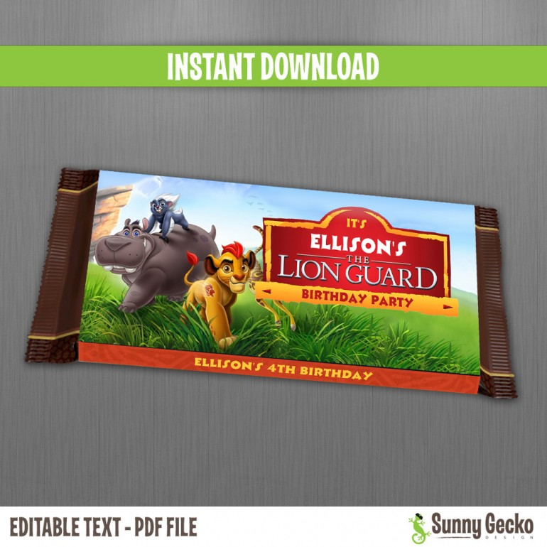 The Lion Guard Birthday Chocolate Wrappers