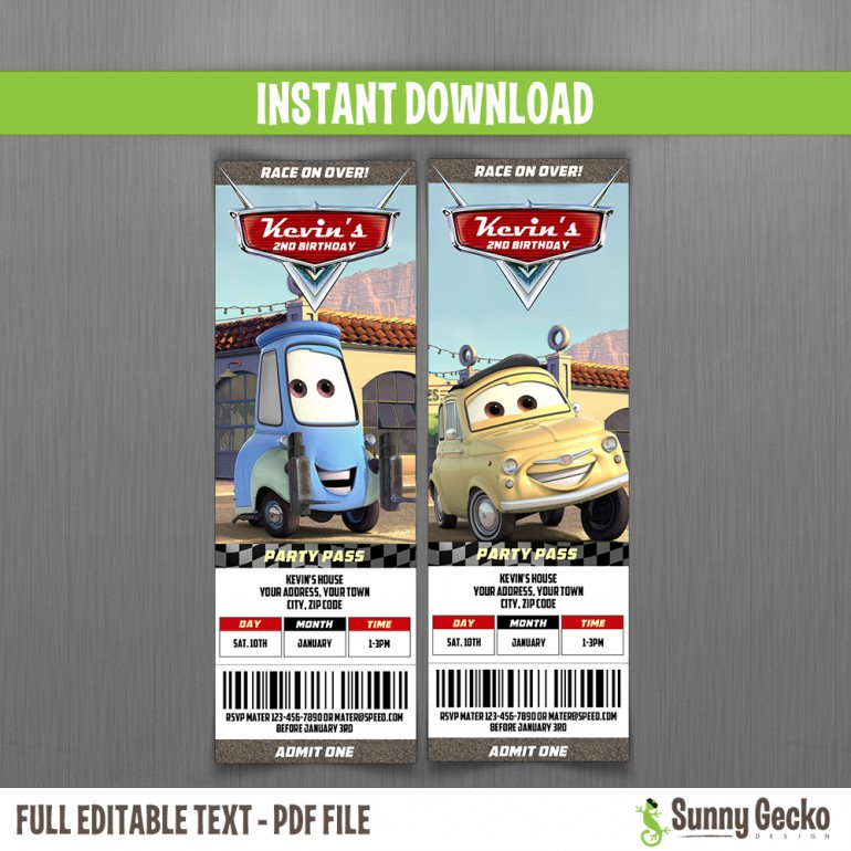 Cars Birthday Ticket Invitations (Luigi and Guido)