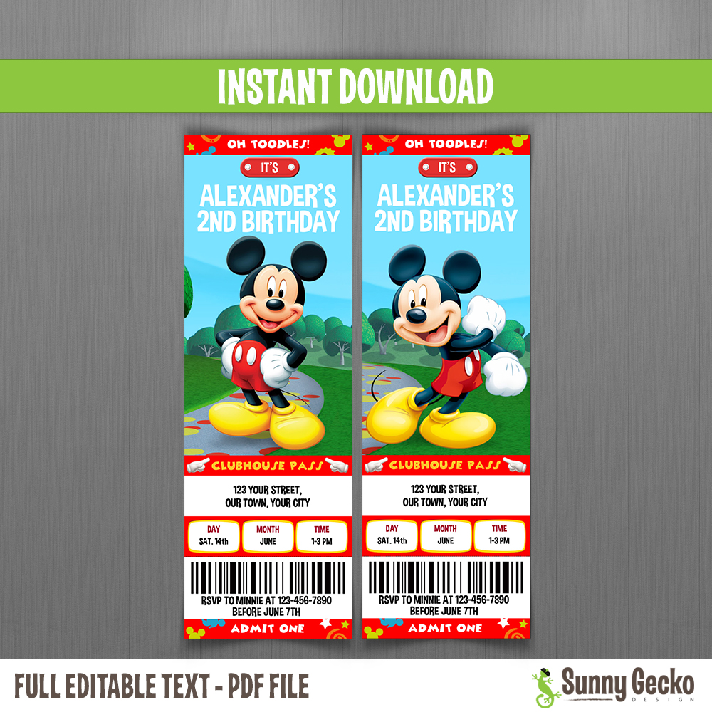 Mickey Mouse Clubhouse Birthday Ticket Invitations Instant