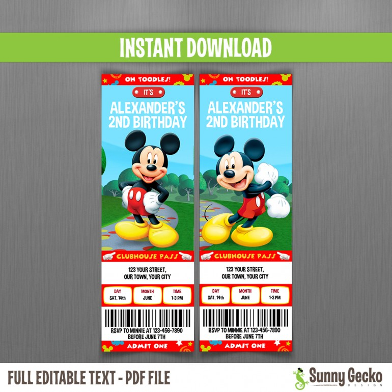 Mickey Mouse Clubhouse Birthday Ticket Invitations