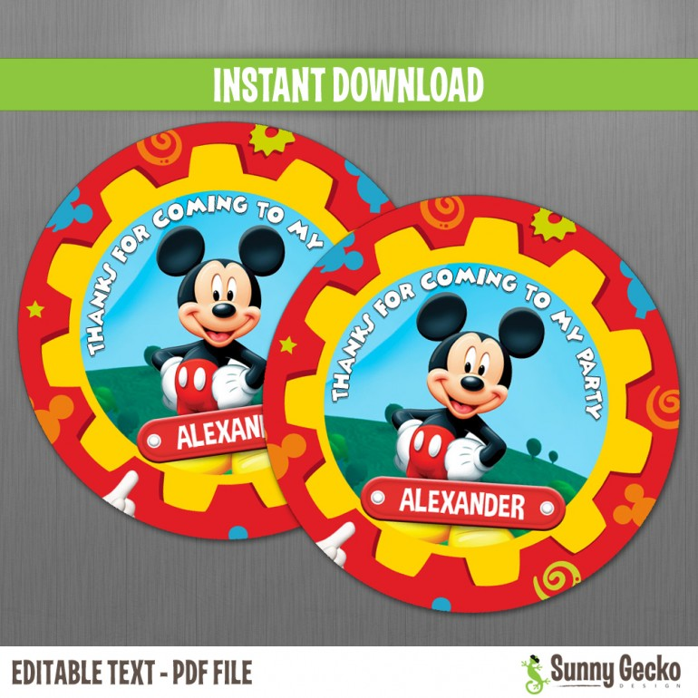 Mickey Mouse Clubhouse Birthday Favor Tags