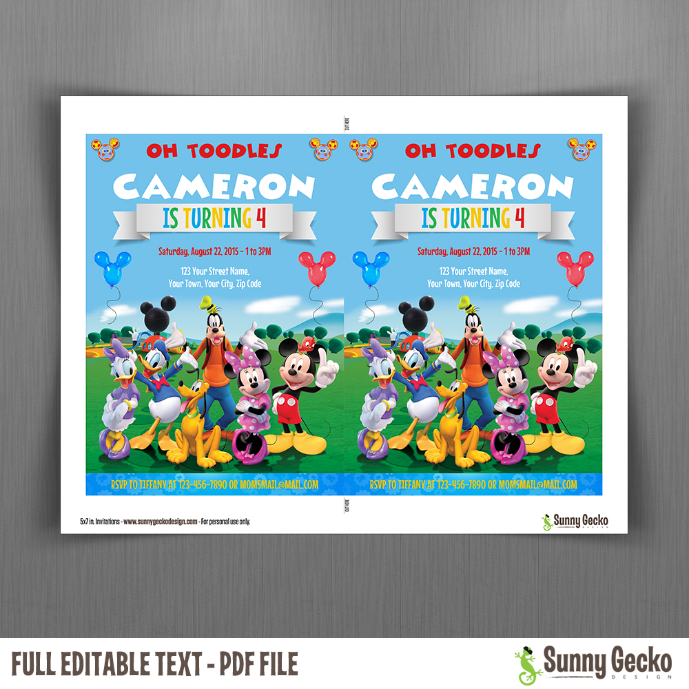 Mickey Mouse Clubhouse Party 5x7 In Birthday Invitation
