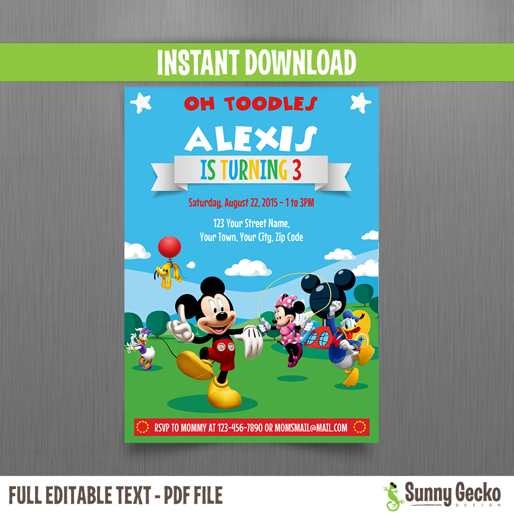 Mickey Mouse Clubhouse Party 5x7 In Birthday Invitation Set 2