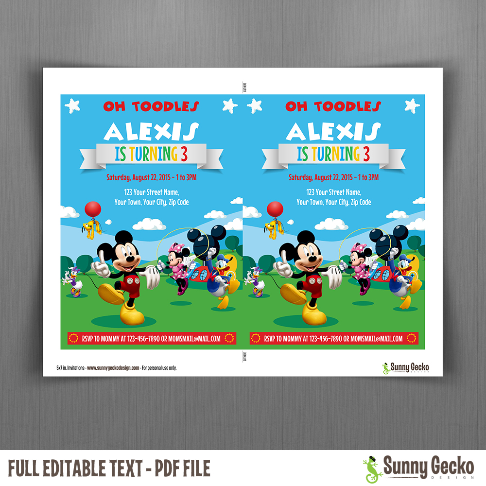 Mickey Mouse Clubhouse Party 5x7 in Birthday Invitation Set 2 – Mickey Mouse Clubhouse Birthday Invites