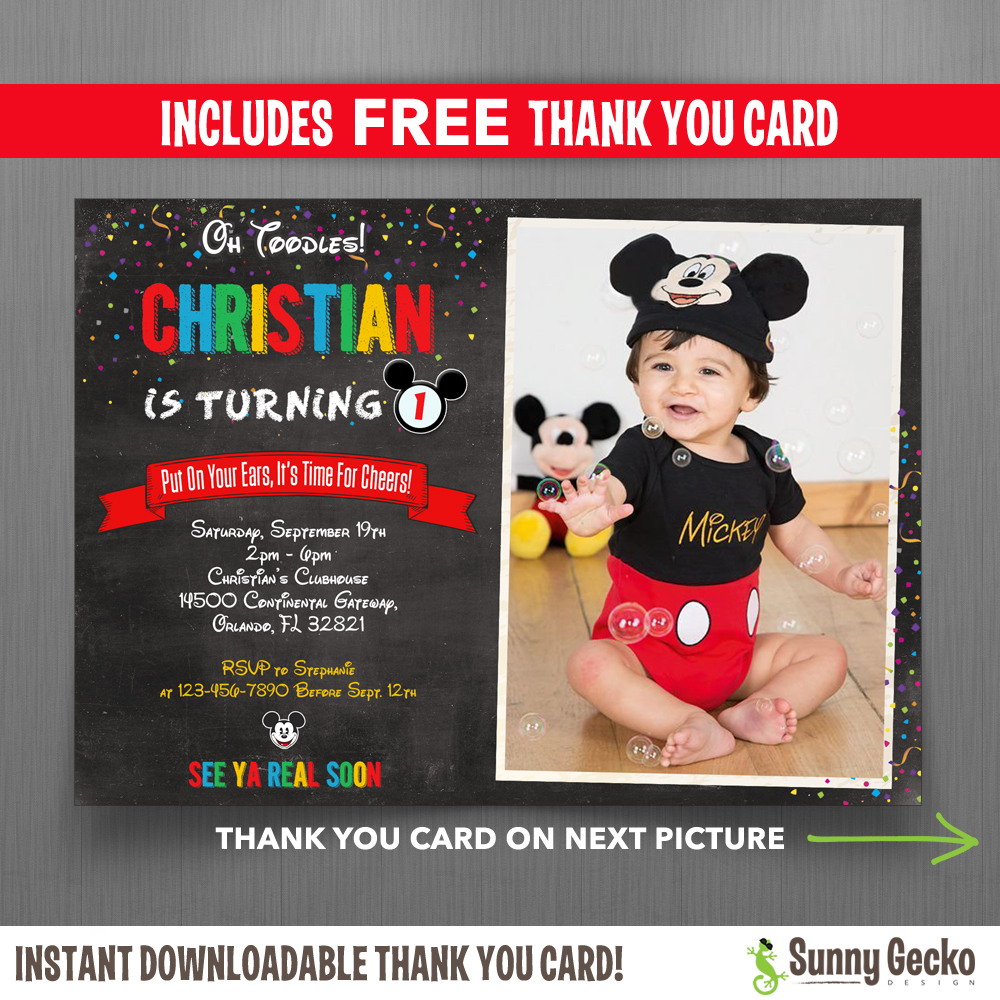 Mickey Mouse Chalkboard Style 7x5 In Birthday Party Invitation With