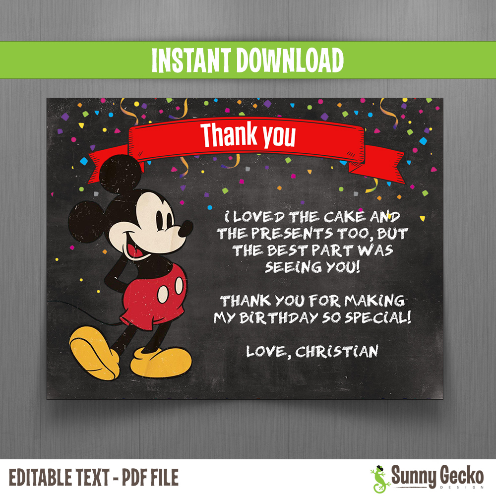 Disney Chalkboard Style Mickey Mouse Birthday Thank You Cards
