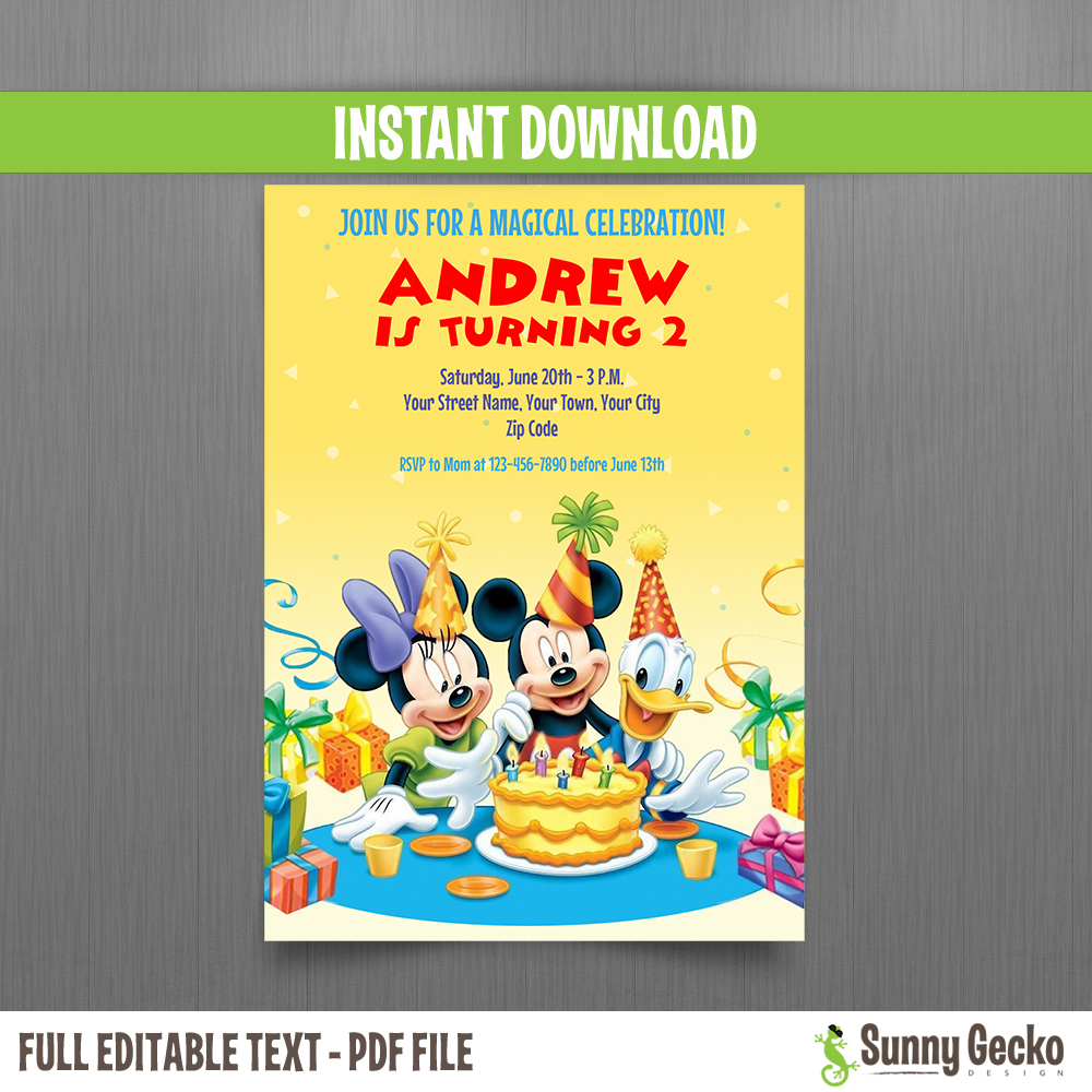Mickey mouse donald and minnie 5x7 in birthday invitation instant download and edit with for Instant download invitations