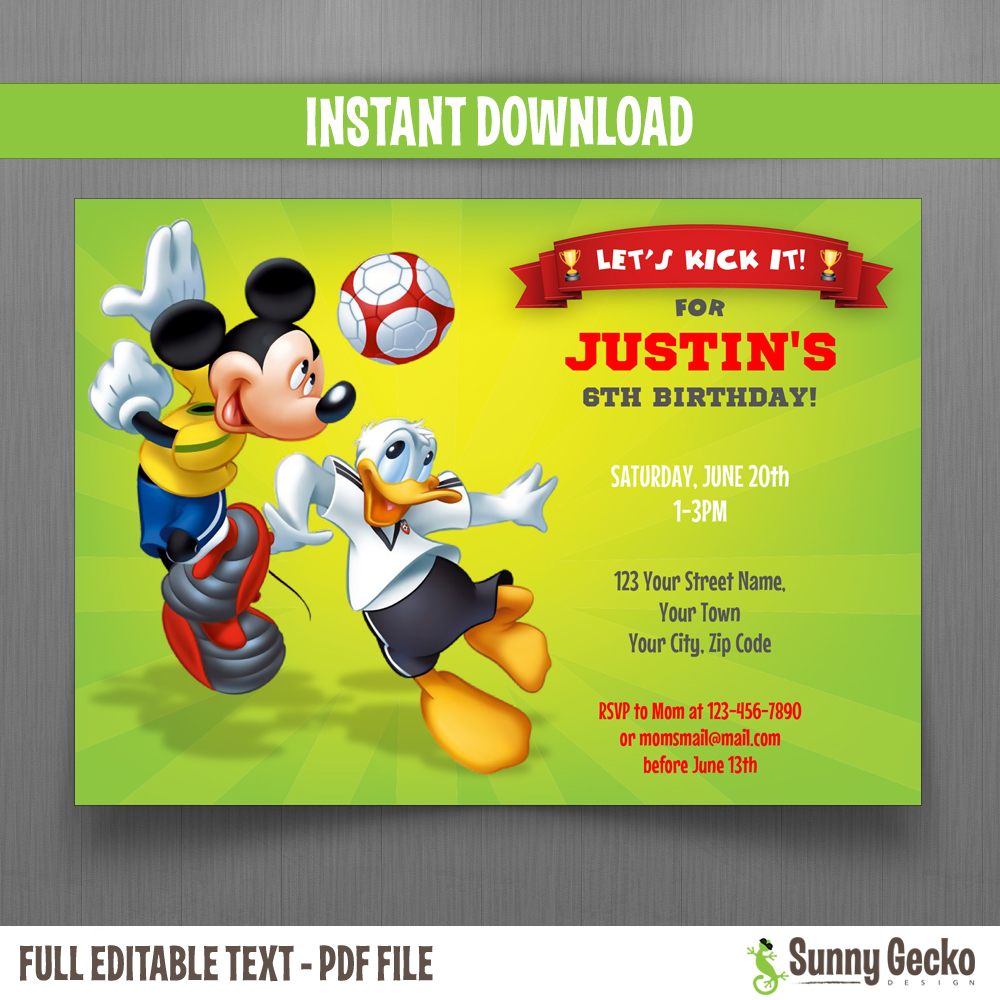 Disney Mickey Mouse And Donald Soccer Party 5x7 In Birthday Invitation