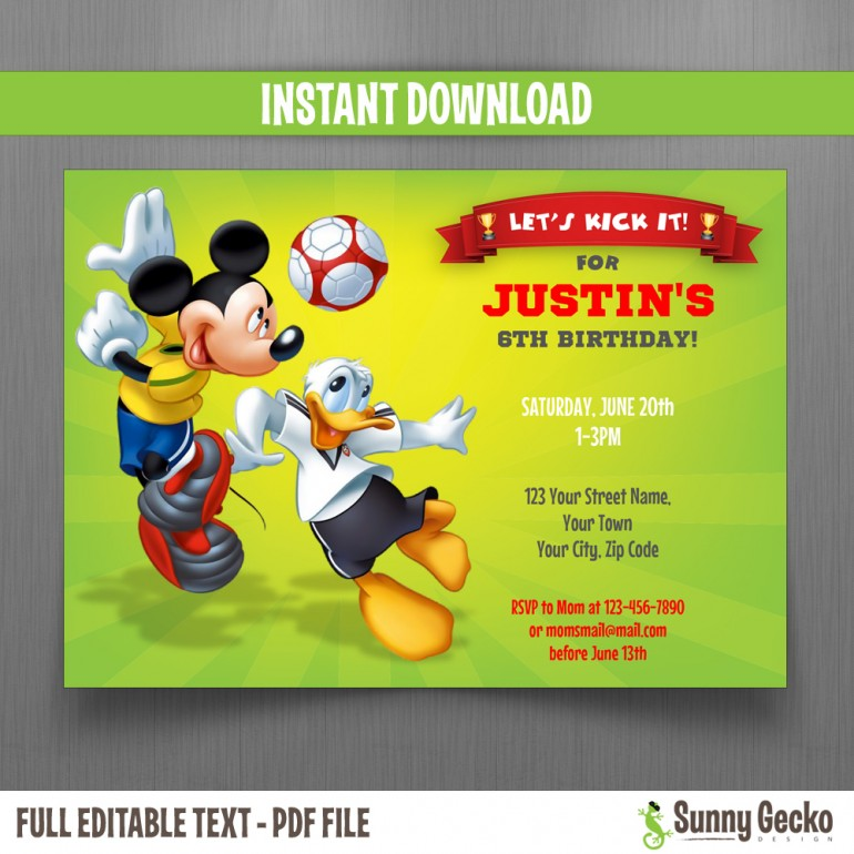 Mickey Mouse and Donald Soccer Party 7x5 in. Birthday Invitation