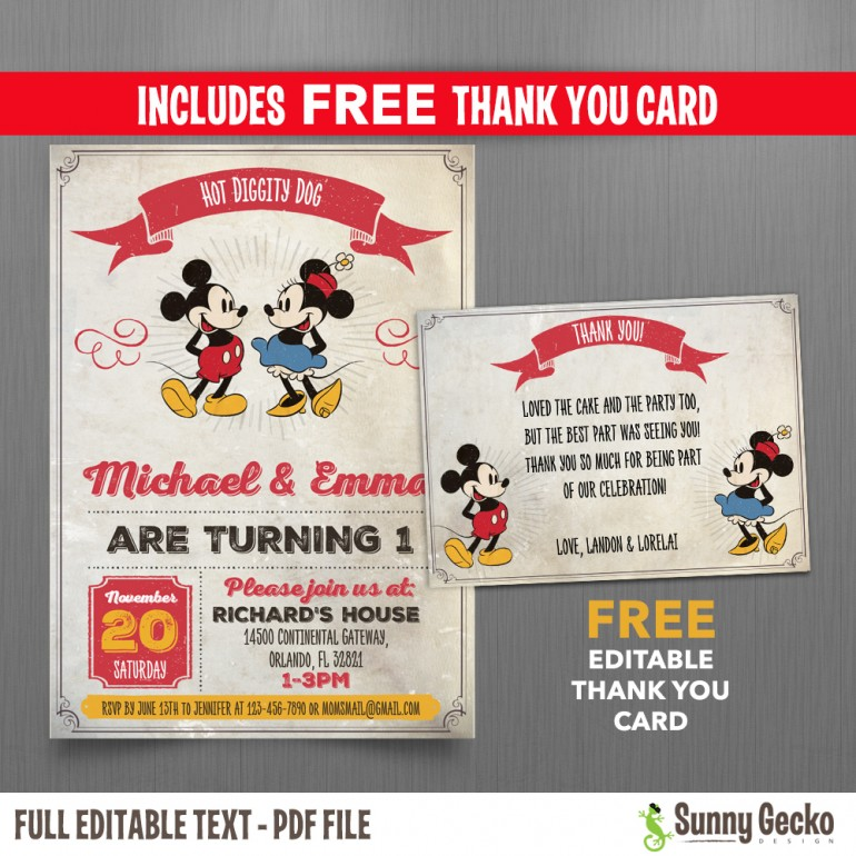 Disney Vintage Style Mickey Mouse 5x7 In Birthday Party