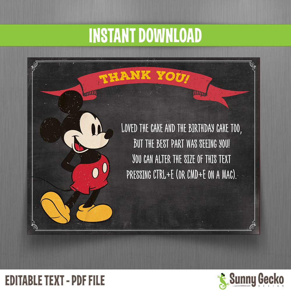 disney mickey mouse vintage chalkboard style birthday thank you cards