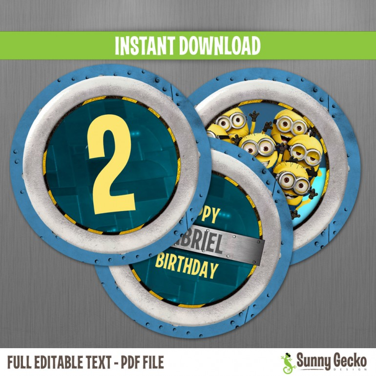 Minions Birthday Circle Labels