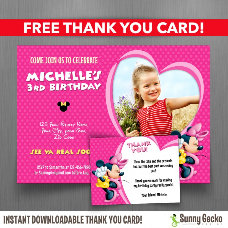 Minnie Mouse 7x5 in. Birthday Party Invitation with FREE editable Thank you Card