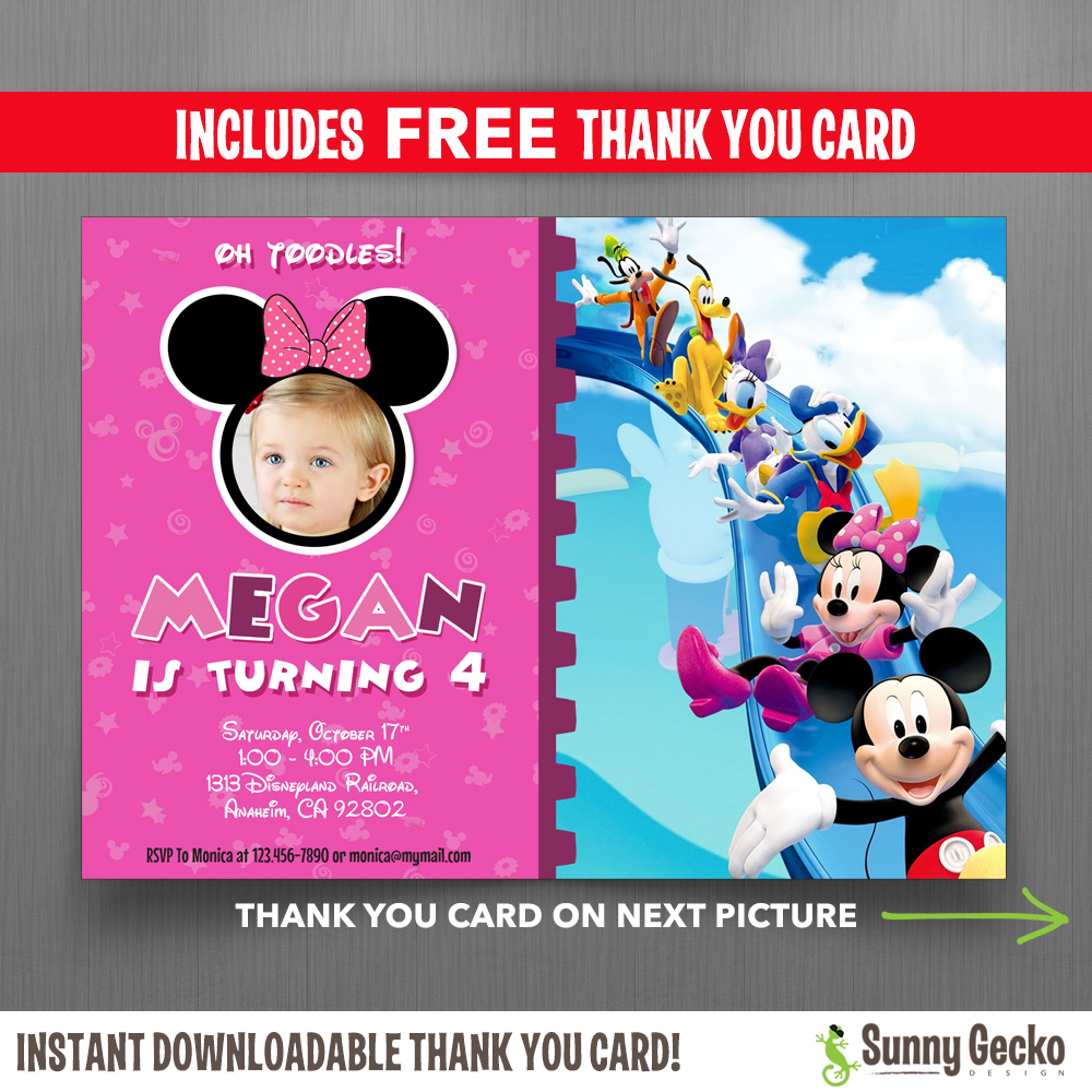 Disney minnie mouse birthday invitation minnie mouse mickey mouse clubhouse 7x5 in birthday party invitation with photo includes free editable thank you card stopboris