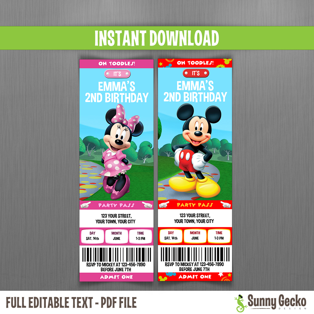 Minnie Mouse Minnie Mickey Mouse Clubhouse Birthday Ticket