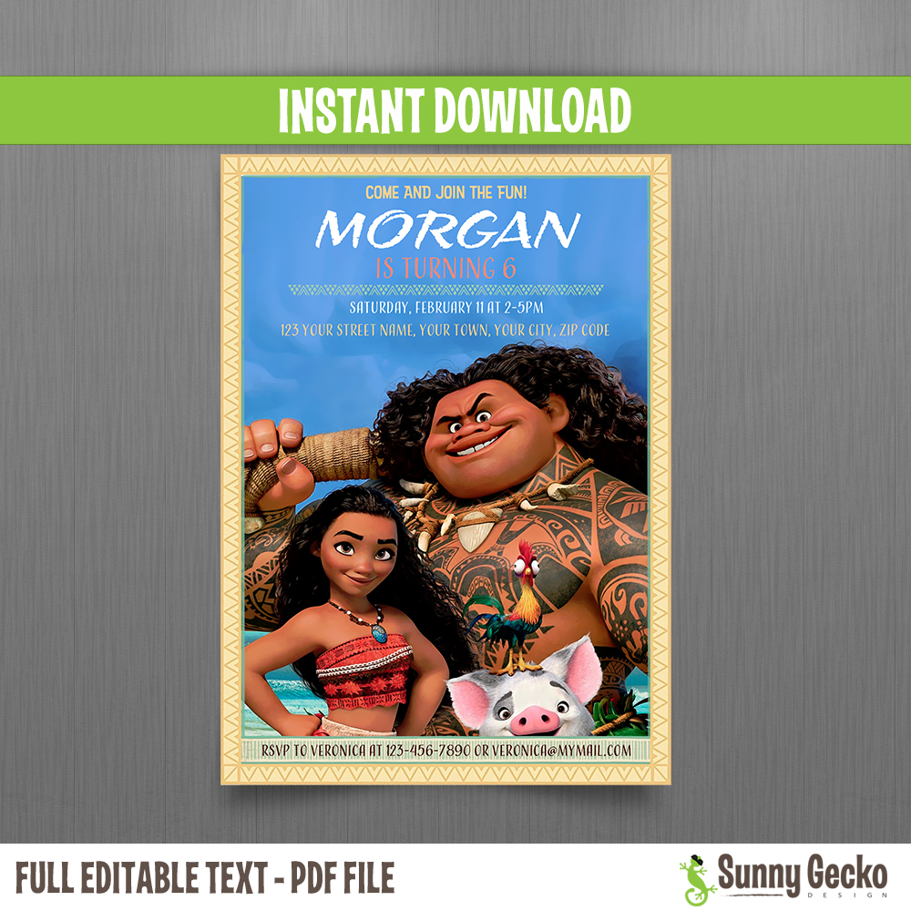 Moana 5x7 In Birthday Invitation