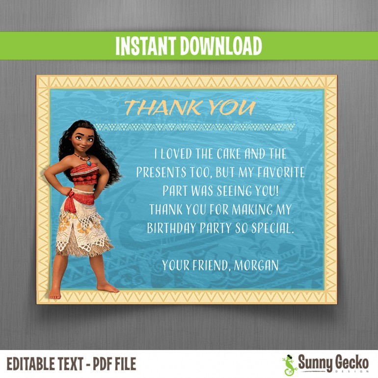 Moana Birthday Thank You Cards
