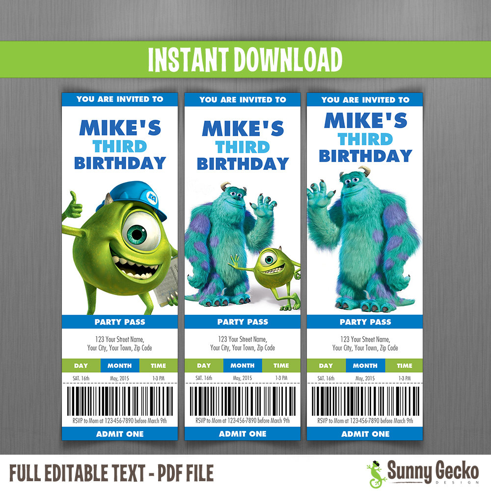 Disney Monsters Inc. Birthday Party Collection - Instant Download ...