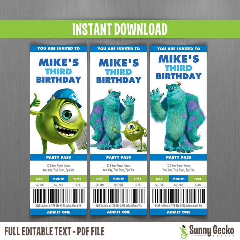 Monsters Inc. Birthday Ticket Invitations