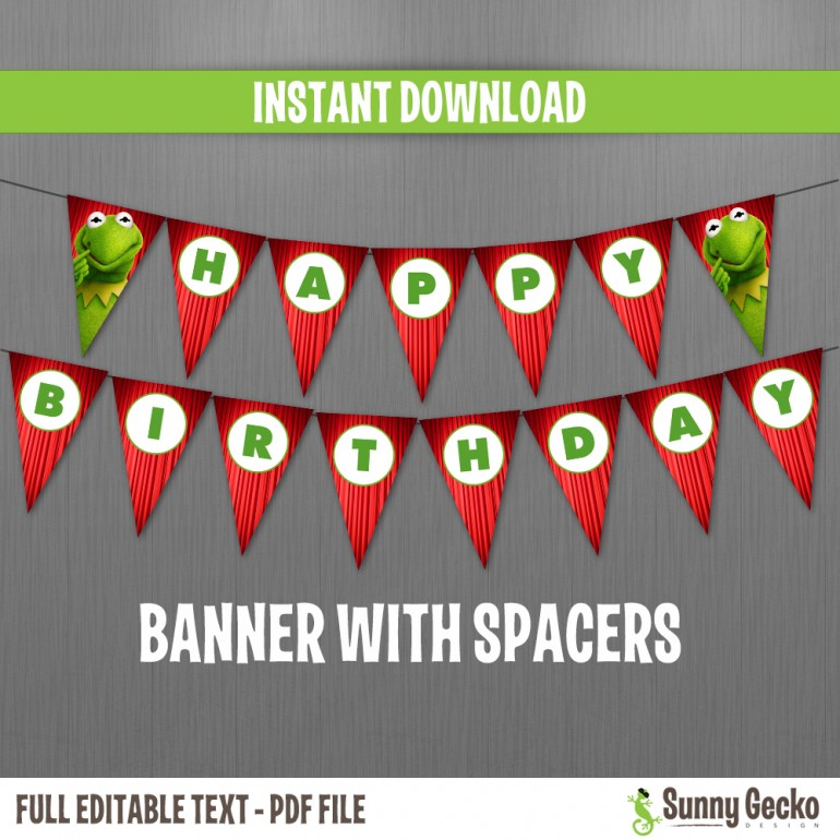 The Muppets Happy Birthday Banner with Spacers