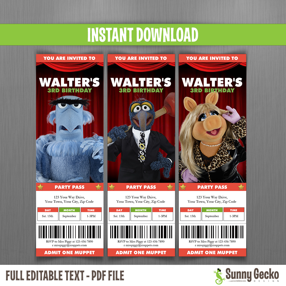 Muppets Birthday Ticket Invitations - Instant Download and Edit with ...