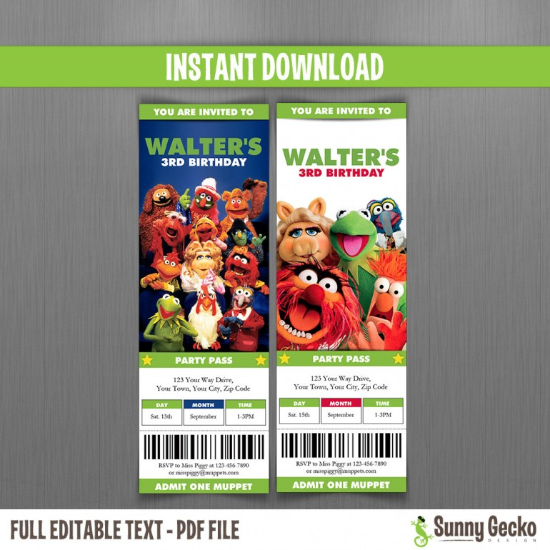Muppets Birthday Ticket Invitations - Group
